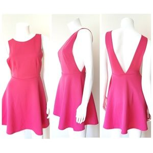 Missguided Hot Pink Skater Mini Dress